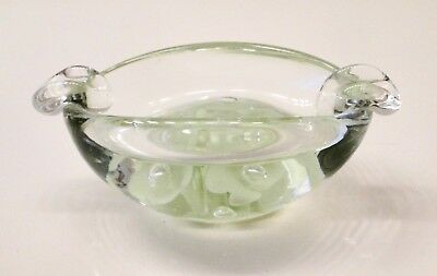 Vintage Hand Blown Glass Ashtray Green FLOWERS & BUBBLES ~Very Thick~