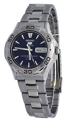 Seiko 5 Sports Men's Stainless Steel Blue Dial Day Date Automatic Watch (Rare)