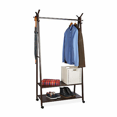 Metal Clothes Stand on Wheels with 2 Shelves and 10 Garment Hooks, Brown