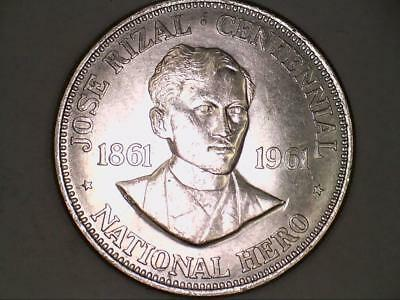 ***EXTREMELY HIGH GRADE*** 1961 Philippines One 1 Peso Jose Rizal Centennial