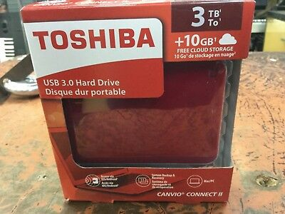 Toshiba Canvio Connect II 3TB Portable Hard Drive Red (HDTC830XR3C1) Backup Disk