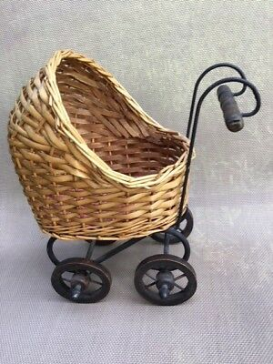 Vintage Doll Size Baby Stroller Pram 10 Inches Height Metal Frame Wood Wheels