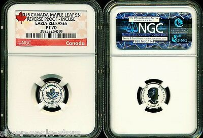 2015 $1 Canada Silver Maple Leaf Incuse Ngc Pf70 Ucam Reverse Proof 1/20 Oz Pr70