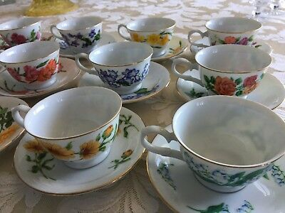 """Complete 12 Month Avon """"Blossoms of the Month"""" Cups and Saucers 1991 NEVER USED"""