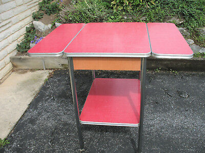 Vintage Mid Century Red Formica & Chrome Rolling Cart W/ Extending Side Leaves