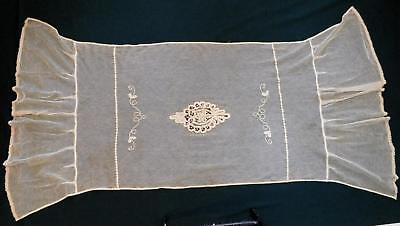 Vtg Antique Victorian Net Tape Lace Pillow Sham Layover Cover for Tambour Lovers