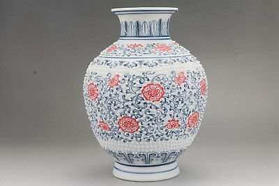 Exquisite Chinese handmade flower porcelain vase Qianlong Mark   hp41