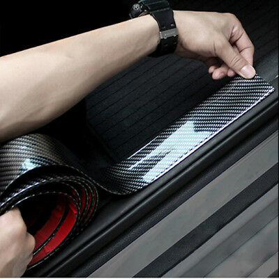 Carbon Fiber Rubber Car Door Plate Sill Scuff Cover Sticker Panel Protector