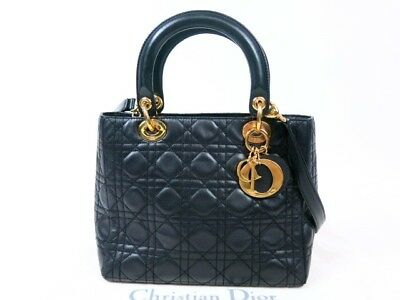 Authentic Christian Dior Lady Dior 2WAY Hand Bag Cannage Lambskin r1463 d90db2fde346d