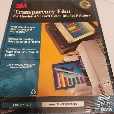 3M Transparency Film HP Color Inkjet Printers 50 Sheets 8 1/2x11 CG3460 New