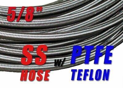 "An-12  -12An  5/8"" 16Mm Stainless Steel Braided Ptfe Teflon Fuel Oil Hose - 20Ft"
