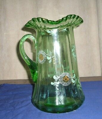 Antique Victorian Green Glass Pitcher Enameled Painting, Ruffled Rim