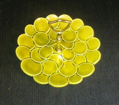 Tidbit Tray Mid-Century Green Ceramic Gold Metal Handle USA Made Serving Plate