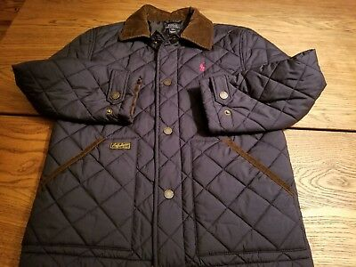 Polo Ralph Lauren Boys Jacket size M 10-12, quilted Navy Blue w Corduroy collar