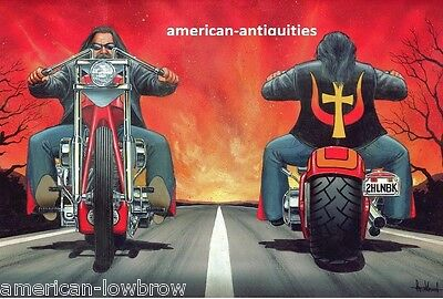 Dave David Mann Biker Art Motorcycle Poster Print Easyriders To Hell and Back