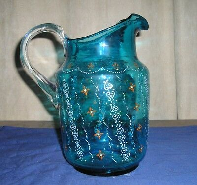 Antique Victorian Teal Blue Glass Pitcher Enameled Painting