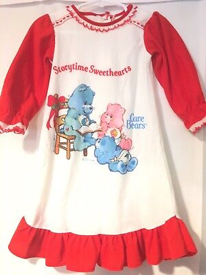 Vintage 1980s Care Bears Nightgown Pajamas 18 Months Toddler Bates-Jama