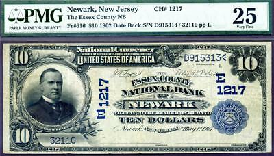 HGR CH#1217 1902 $10 NEWARK New Jersey DATE BACK ((RARE 5 Known)) PMG VF-25
