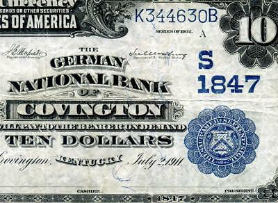 HGR CH#1847 1902 $10 COVINGTON Kentucky DATE BACK (X-RARE 1 Known) VF GRADE