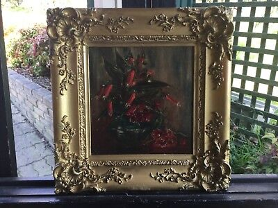 Early Floral Work Framed Oil Painting Circa 1880s