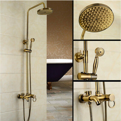 Durable Antique Bronze Bathroom Rain Shower Head Hand Spray Mixer Faucet Tap Set
