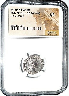 Marcus Aurelius,The Philosopher Emperor Denarius Coin.NGC Certified VF