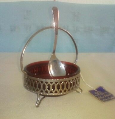 Silver Plate Cranberry Glass Ruby Sugar Bowl with Spoon Made In England