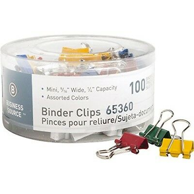 Business Source Binder Clip - Mini - 0.56quot; Width - 100 / Pack - Assorted
