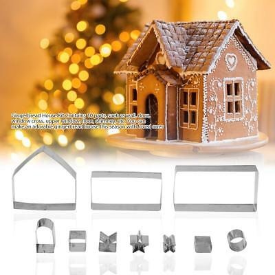 10Pcs 3D Gingerbread House Cookie Cutters Stainless Steel Christmas Biscuit Mold