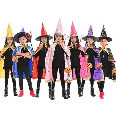 Kids Halloween Costume Wizard Cape Cloak & Hat Cosplay Witch Robe Broom Bucket