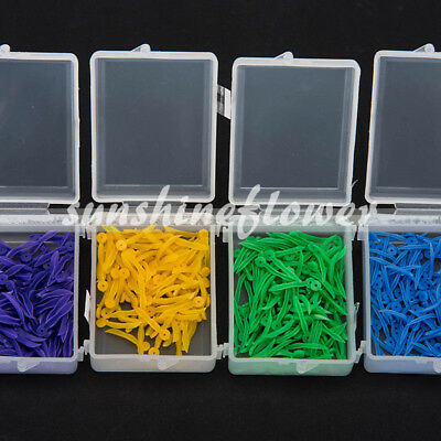 400 Pcs Dental Plastic Poly-Wedges with Holes Round Stern 4 Colors 4 Sizes