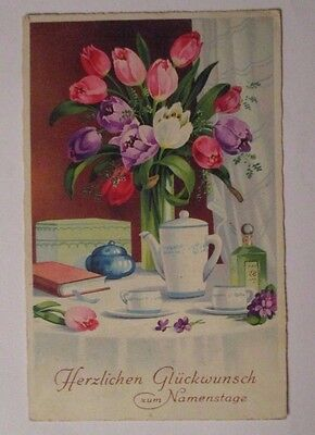 """"""" Naming Day, Flowers, Tulips, Coffee """" 1938 (36981)"""