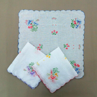 1pc Vintage Lady Floral Prints Flowers Design Handkerchief Hanky Scarf