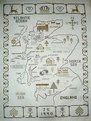 Counted Cross Stitch Unframed Tapestry Sampler Picture Map of Scotland