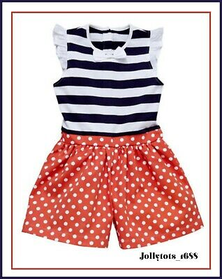 Ladybird Girls Nautical Playsuit Age 6-7 Years Spots Stripes Shorts Outfit