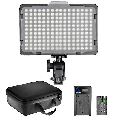 Neewer Dimmable 176 LED Video Light Lighting Kit with Battery and USB Charger