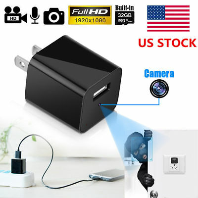 1080P HD Hidden Spy Camera USB Charger Adapter Home Security Video Recorder Cam