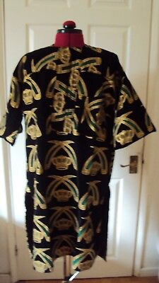 "Nigerian Igbo Traditional Groom Men's ""Isi Agu"" Loose Shirt / Top Black - Medium"