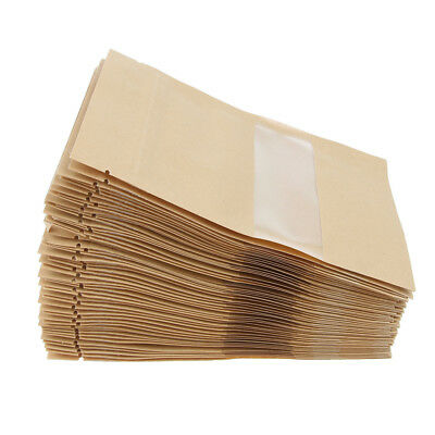 100X Kraft Paper Bags w/ Transparent Window Dry Food Coffee Storage 9x14cm