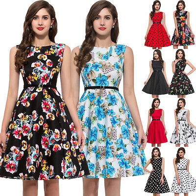 Grace Karin Floral Swing 1950s Housewife pinup Retro Evening Cocktail TEA Dress