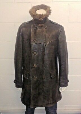 Vintage WW2 German Military Style Double Breasted Thick Leather Jacket Fur Colar