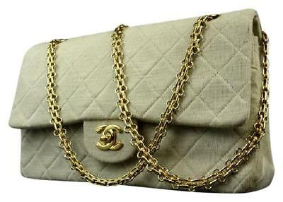 f2bf4ef0d92c Chanel Flap Quilted Grey Classic Double Flap Cream Cotton Shoulder Bag  215748