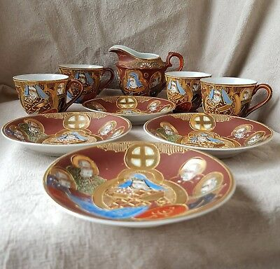 Collection of hand painted, decorative Japanese cups, plates and jug