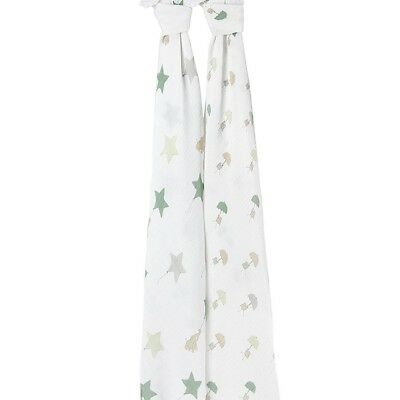 Aden and Anais Classic Muslin Cotton Baby Swaddle Blanket Wrap Up & Away 2 Pack