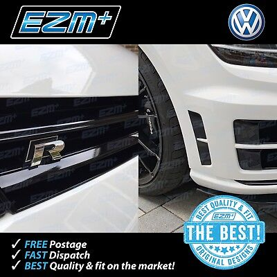 EZM VW Golf R MK7 Vent Insert Stickers + Grill Overlay Sticker COMBO GLOSS BLACK