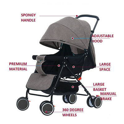 Foldable Pram Pushchair Lightweight Newborn Baby Stroller Buggy Carriage Car UK
