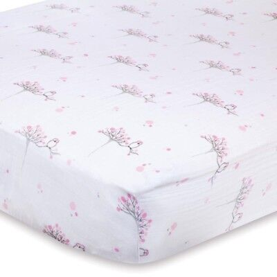 Aden and Anais Fitted Cot Sheet Baby Boori Muslin Bedding New For the Birds Owl