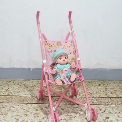 Plastic Baby Push Cart Pushchair Trolley for Mellchan Doll Kids Toys Pink A