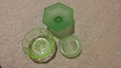 3 Green Depression Glass=Pin Dish, Trinket Bowl & Hexagon Bowl with Stand- 1930s