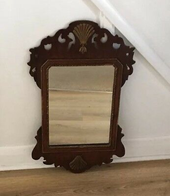 Antique Georgian 18th Century Carved Wooden Mirror With Fret Work Design